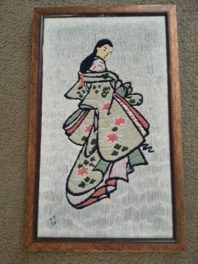 Framed threaded yarn artwork: Mint Green Kimono '79 -16W x 26L : $50 (Or $75 for set)